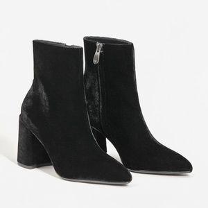 MANGO Velvet Pointed Heeled Ankle Boot